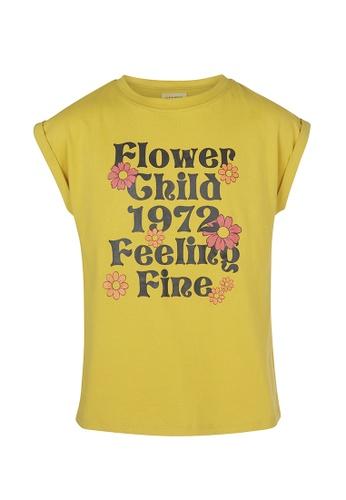 Gen Woo gold 70's Slogan T-Shirt By Gen Woo 74104KA024681FGS_1