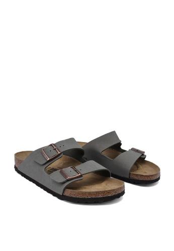 Birkenstock grey Arizona Birko-Flor Nubuck Sandals BI090SH57HNMMY_1