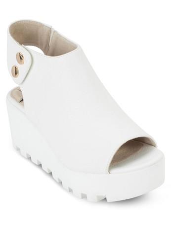 魚口鏤空厚底zalora 泳衣踝靴, 女鞋, 鞋