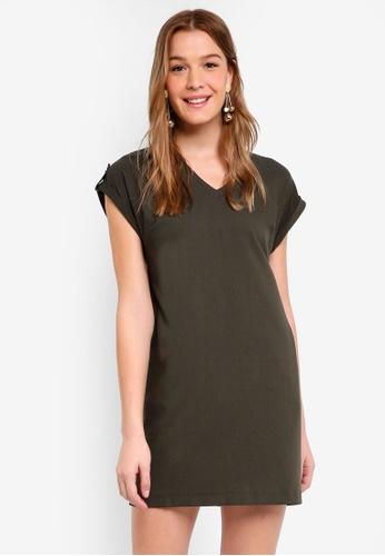 Dorothy Perkins green Khaki Zip Pocket Shift Dress D50D0AAF14B4F1GS_1