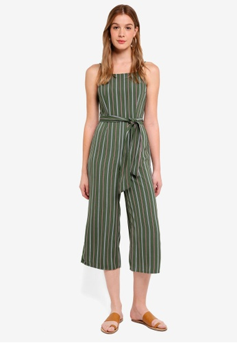 The Fifth Label green Axial Stripe Playsuit 6867DAABF414EAGS_1