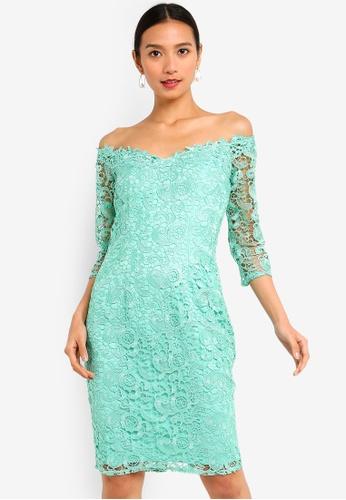 cb617560e884 Shop Paper Dolls Wilton Mint Lace Bardot Dress Online on ZALORA ...