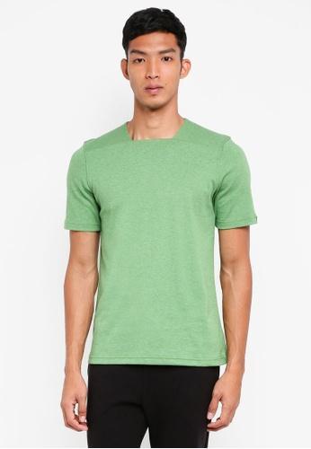 UniqTee 綠色 方領短袖T恤 61EF5AAEC74E02GS_1