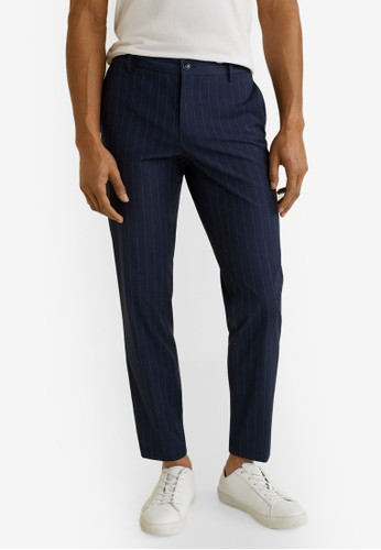 MANGO Man blue and navy Slim-Fit Cropped Trousers 510A0AA051B046GS_1