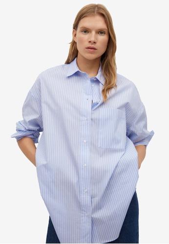 Mango blue Oversize Striped Shirt 7867CAAC6AB2D4GS_1