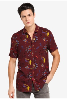 dbde333b Topman red Long Sleeve Muscle Fit Twill Shirt Casual Shirt  64CE1AA8130C24GS_1