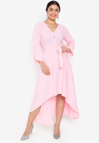 Wear Kris pink Kissable V Neck Dress With Belt And Asymmetric Hem D30FBAAB3439CBGS_1