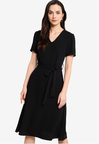 ZALORA WORK black V Neck Midi Dress 93ED6AAA3BC097GS_1