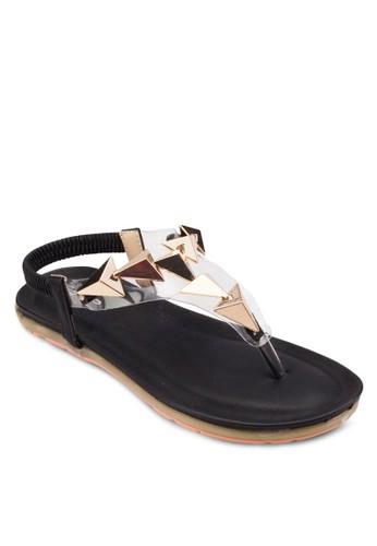 立體金屬閃飾平底esprit 見工涼鞋, 女鞋, 鞋