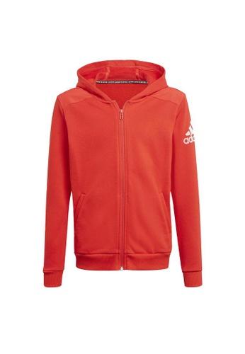 ADIDAS red boys badge of sport full zip hoodie 9643FKA2895AA6GS_1