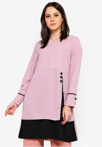 BYN pink Piping Detail Blouse D4AA2AA83EEBE6GS_1