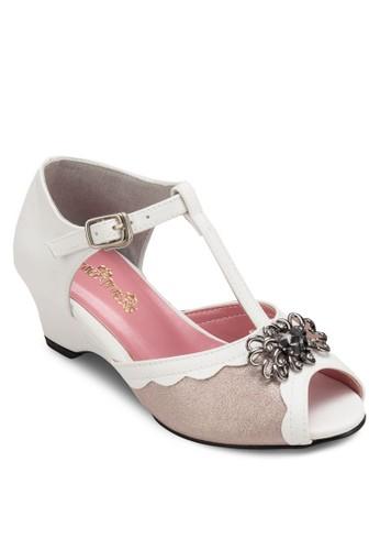 閃飾露趾T字踝帶楔型高跟鞋, esprit台北門市鞋
