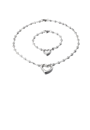Glamorousky silver Simple and Fashion Hollow Heart-shaped 316L Stainless Steel Necklace and Bracelet Set C14A6AC1C0AFEFGS_1