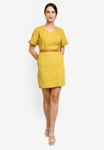 Hopeshow yellow Slim Waist Linen Mini Dress with Belt 1721BAA5A37C77GS_1