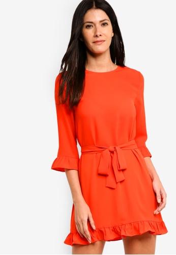 ZALORA orange Gathered Hem Shift Dress A1C60AA8E72819GS_1