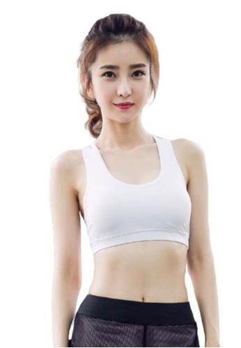 B-Code white ZYG3017-Lady Quick Drying Running Fitness Yoga Sports Bra -White F09D6USF8BF7AEGS_1