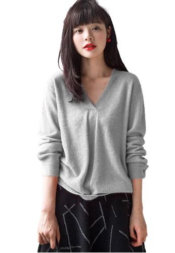 Sunnydaysweety grey Basic V Neck Pullover CA112811GY 95B1AAABD1D893GS_1