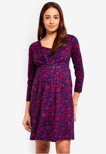JoJo Maman Bébé navy Maternity Mono Floral Pleat Tunic Dress F0C0CAAD286C2BGS_1
