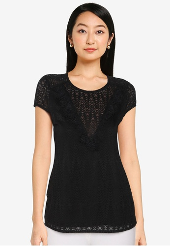 ZALORA BASICS black Lace Top 223D3AAE057F66GS_1