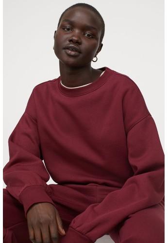 H&M red Cotton-blend sweatshirt D1F39AAABC4BC3GS_1