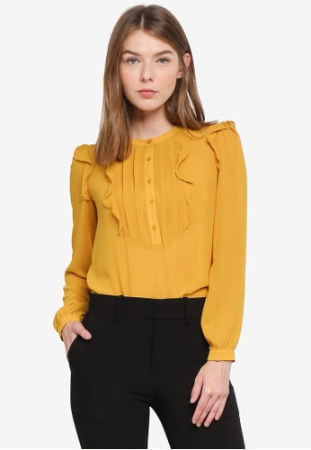 OVS yellow Long Sleeve Frilled Blouse 46A66AAD1A8AA9GS_1