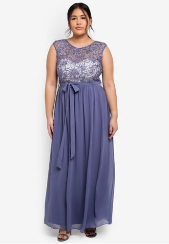 Little Mistress grey Plus Size Grey Maxi Dress 14B54AAE6CAD39GS_1