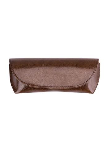 ENZODESIGN brown ENZODESIGN  Deluxe Semi Hard Buffalo Leather Glasses Case E5D0AGLC28D622GS_1