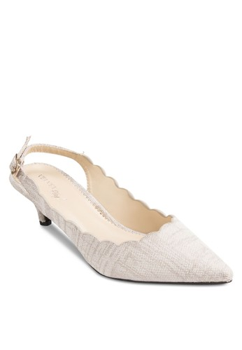 Pesprit童裝門市lay! Kimberly 扇貝邊繞踝尖頭低跟鞋, 女鞋, 鞋