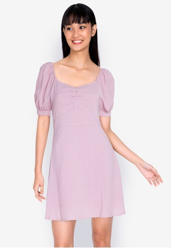 ZALORA BASICS purple Gathered Front Puff Sleeve Dress DEFCEAAE03483BGS_1
