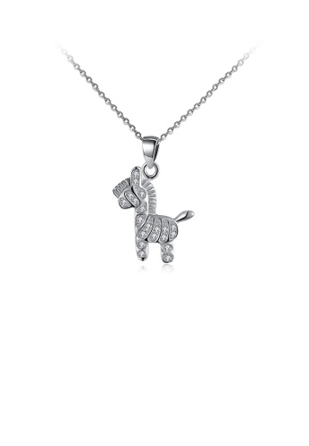 Glamorousky white 925 Sterling Silver Fashion Cute Pony Pendant with Cubic Zircon and Necklace 6A6C3AC11C9260GS_1