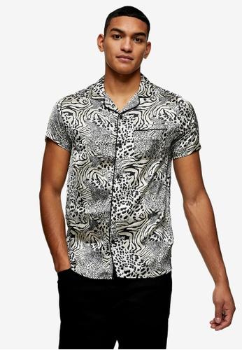 Topman multi Animal Print Satin Revere Shirt DFD3EAAADEDAB6GS_1