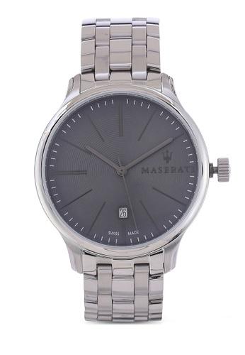 Maserati silver Attrazione Swiss Made 43mm Men's Bracelet Watch MA410AC73HHQMY_1
