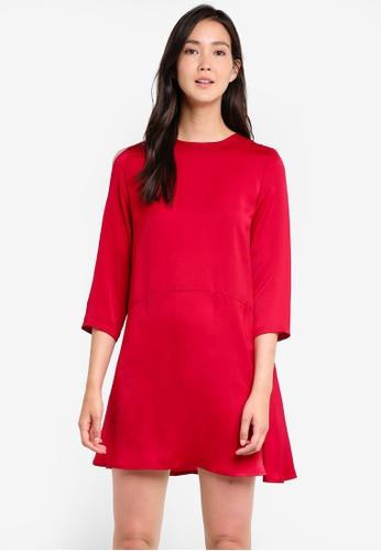 ZALORA red Long Sleeve Shift Dress 04247AA3F5FE91GS_1