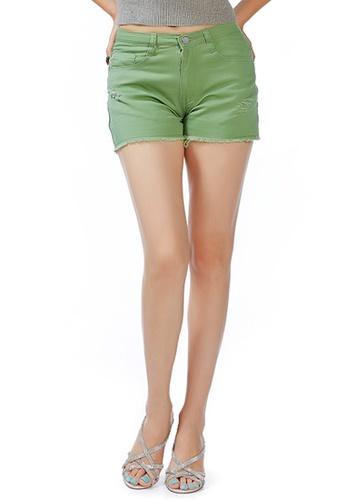 London Rag green Sage Green Raw Hem Denim Shorts 103B5AADD2C19DGS_1