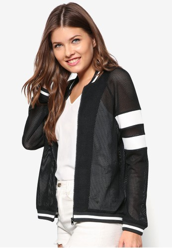 Love 網眼拼接棒球外套, zalora 手錶服飾, 夾克 & 大衣