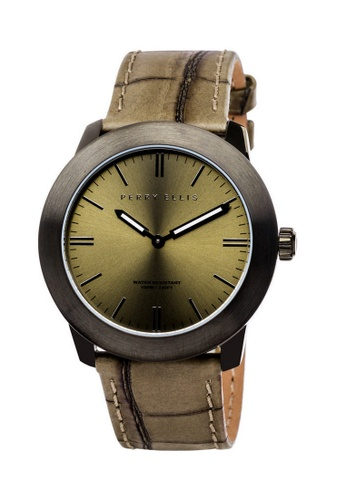 PERRY ELLIS brown Perry Ellis Slim Line Unisex 42mm Quartz Watch 07006-01 5E621AC279DAE7GS_1