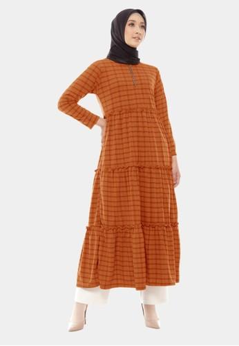 COTTON BEE orange Long Dress Qyara Tartan Baju Gamis Jumbo Dewasa - Tangerine 61B30AAD0C222FGS_1