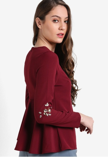 VERCATO red Madison Embellished Flare Back Top VE999AA98BLTMY_1