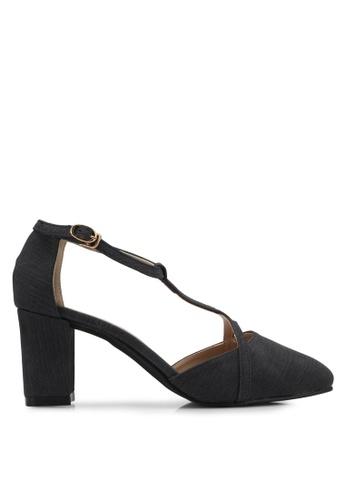 Spiffy black Strappy Block Heels SP352SH0SRXXMY_1