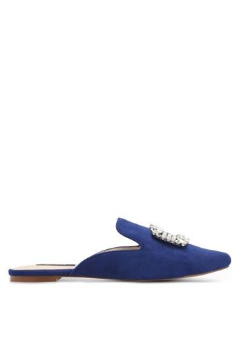 ZALORA 海軍藍色 寶石麂皮平底穆勒懶人鞋 4089DZZ2AF46EDGS_1