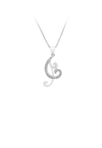 Glamorousky silver 925 Sterling Silver Pendant with White Cubic Zircon and Necklace F24BFAC43C9EC9GS_1