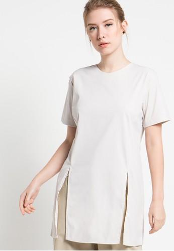 Magnificents Ladies beige Slide Short Sleeve Blouses MA179AA09YRAID_1