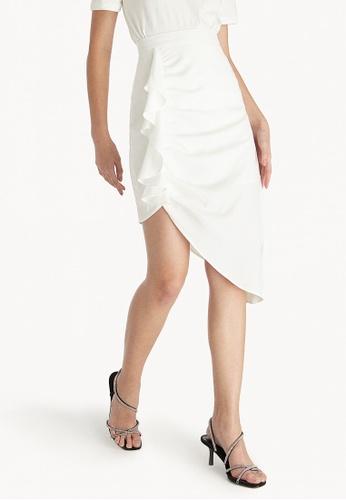 4732b61a3f5f1 Buy Pomelo Asymmetric Side Ruffle Skirt - White Online on ZALORA ...