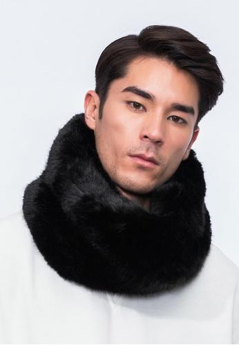 Alpha Style black Jacey Vegan Fur Cowl AL461AC0H8XRSG_1