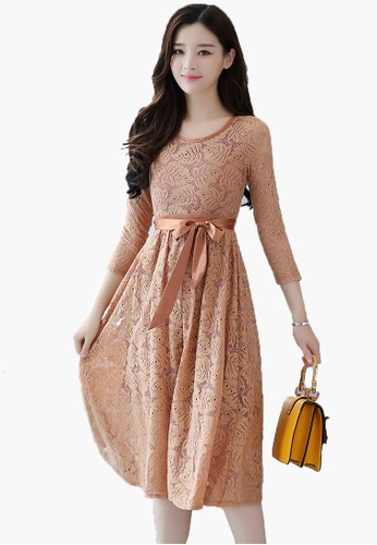 Halo brown Elegant Full Lace Dress 41055AA8817243GS_1