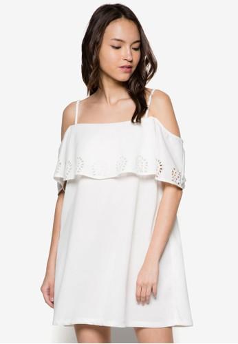 雕花層次露肩連身zalora鞋子評價裙, 服飾, 洋裝