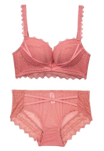 ZITIQUE Sexy Lace Seamless No Rims Bra Set-Pink 9B228US4AA03F2GS_1