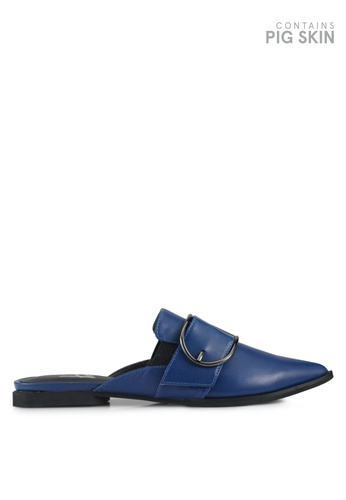 House of Avenues blue Chunky Buckle Mule Flats DB89CSH543A4A2GS_1