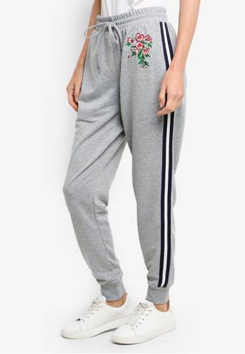 Brave Soul grey Floral Patches And Stripe Detail Joggers 67ACAAA9AA6684GS_1