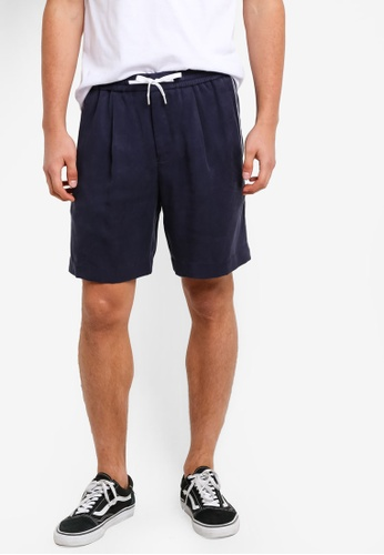 Topman blue Navy Tencel Side Stripe Shorts TO413AA68UPZMY_1